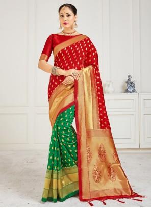 Green Half N Half Designer Saree For Festival