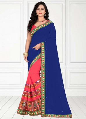 Half N Half  Saree Patch Border Faux Georgette in Blue and Pink