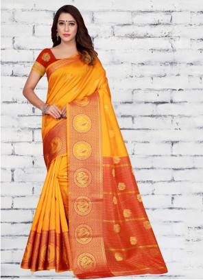 Half N Half  Saree Woven Jacquard Silk in Orange