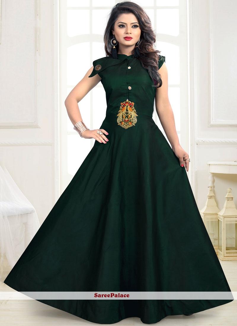 Buy Hand Work Tafeta silk Designer Gown in Green Online