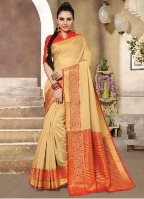 Handloom Cotton Beige Designer Traditional Saree