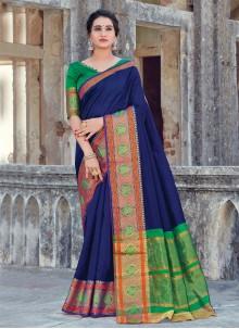 Handloom Cotton Blue Trendy Saree