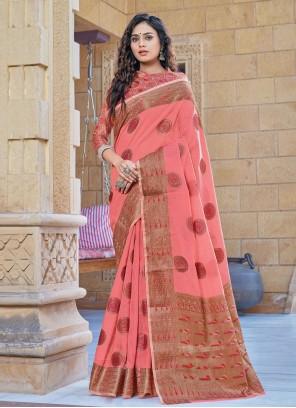 Handloom Cotton Classic Designer Saree in Pink