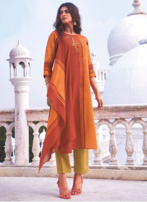Handloom Cotton Embroidered Casual Kurti in Orange