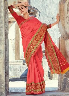 Handloom Cotton Festival Pink Classic Saree