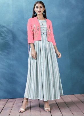 Handloom Cotton Jacket Style in Blue and Off White