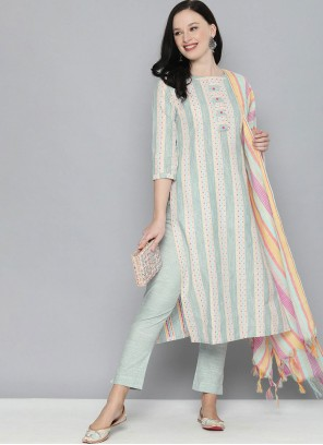 Handloom Cotton Pant Style Suit in Green