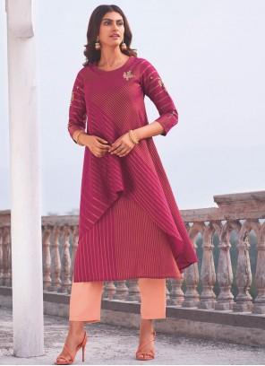 Handloom Cotton Party Wear Kurti in Hot Pink