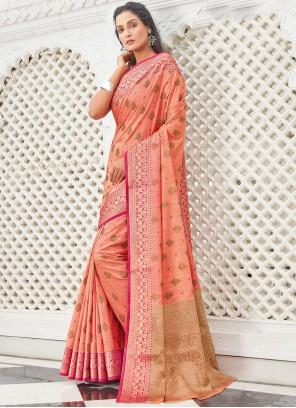 Handloom Cotton Peach Traditional Saree