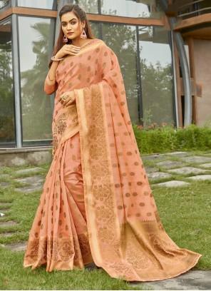 Handloom Cotton Pink Traditional Saree