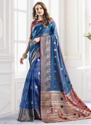 Handloom Cotton Printed Blue Shaded Saree