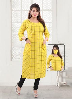 Handloom Cotton Printed Yellow Party Wear Kurti