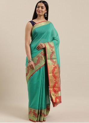 Handloom Cotton Sea Green Traditional Saree