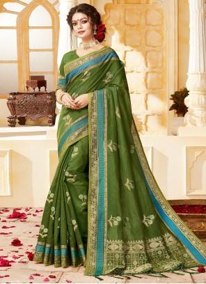 Handloom Cotton Green Traditional Saree
