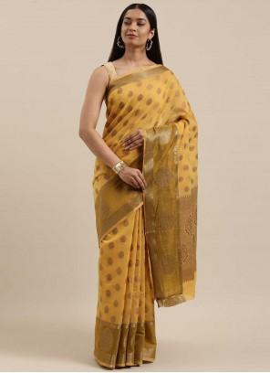 Handloom Cotton Traditional Saree in Mustard
