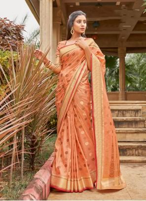 Handloom Cotton Pink Weaving Classic Saree