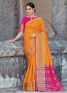 Handloom Cotton Weaving Mustard Classic Saree
