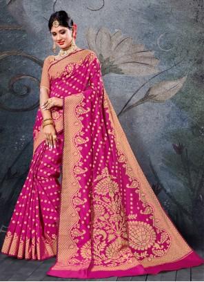 Handloom Cotton Weaving Pink Contemporary Saree
