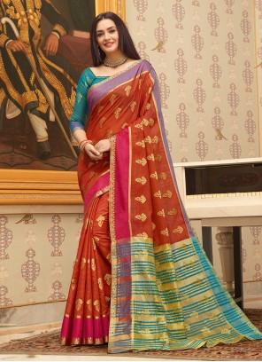 Handloom Cotton Weaving Red Casual Saree