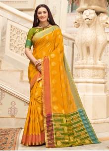 Handloom Cotton Weaving Yellow Casual Saree