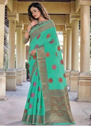 Sea Green Handloom Cotton Woven Traditional Saree