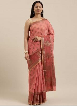 Handloom Cotton Woven Traditional Saree in Peach