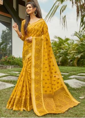Handloom Cotton Yellow Weaving Traditional Saree