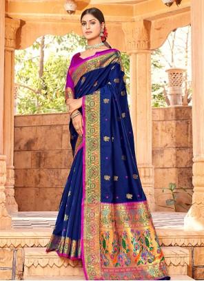Handloom silk Blue Weaving Traditional Saree