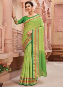 Handloom silk Classic Designer Saree in Green