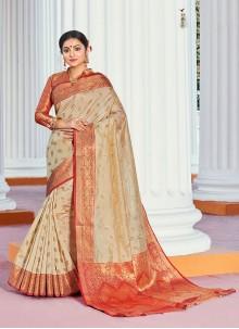 Handloom silk Cream Designer Traditional Saree