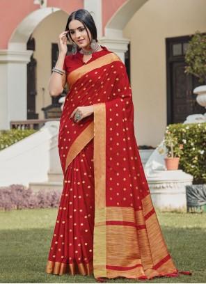Handloom silk Red Festival Traditional Saree