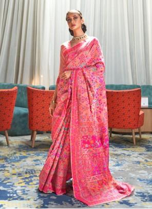 Peach Handloom silk Festival Trendy Saree