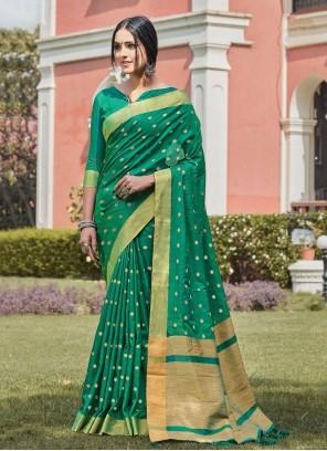 Handloom silk Green Traditional Designer Saree