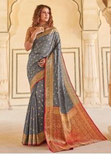 Handloom silk Grey Weaving Classic Saree