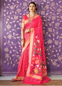 Handloom Silk Hot Pink Traditional Saree