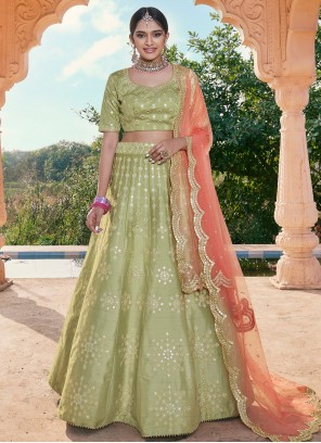 Handloom silk Mirror Green A Line Lehenga Choli