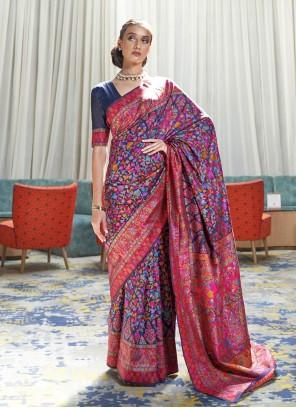 Handloom silk Navy Blue Designer Saree