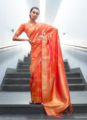 Handloom silk Orange Designer Traditional Saree