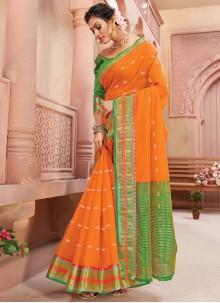 Handloom silk Orange Fancy Classic Saree