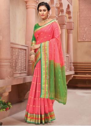 Handloom silk Pink Fancy Traditional Saree