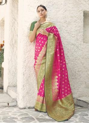 Handloom silk Pink Traditional Designer Saree