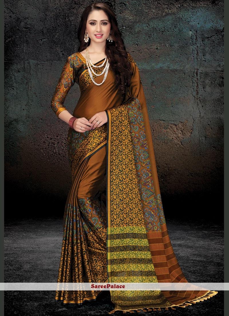 Handloom silk Print Work Traditional  Saree
