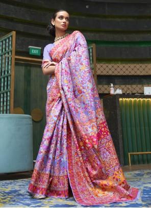 Handloom silk Purple Classic Saree