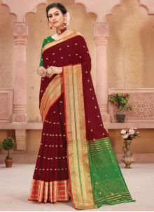 Handloom silk Traditional Designer Saree in Maroon