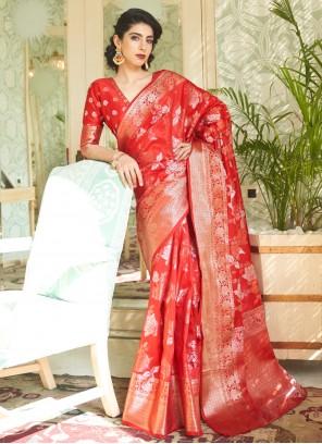 Handloom silk Red Traditional Saree
