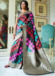 Handloom silk Traditional Saree in Multi Colour