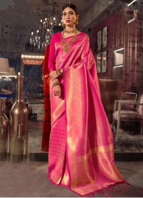 Handloom silk Weaving Designer Traditional Saree in Hot Pink