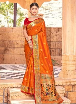 Handloom silk Weaving Mustard Designer Traditional Saree