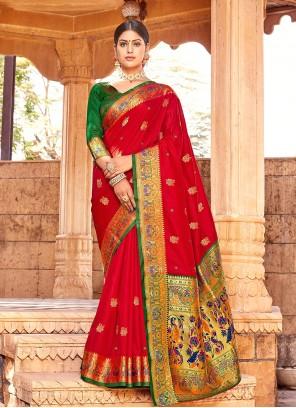 Handloom silk Weaving Red Traditional Designer Saree