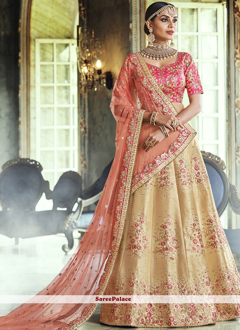 Handloom silk Yellow Resham Lehenga Choli